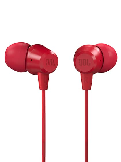 JBL Red In-Ear Wired Headphones with Mic T50HI