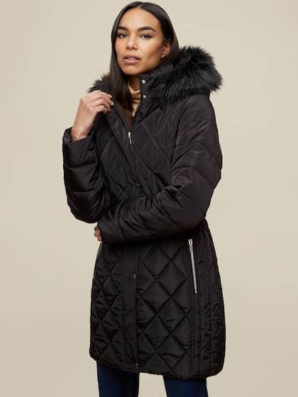 DOROTHY PERKINS Women Black Quilted Longline Parka Jacket