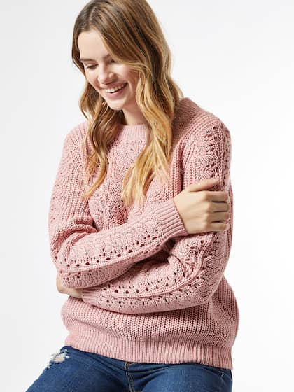 DOROTHY PERKINS Women Dusty Pink Open Knit Pullover Sweater