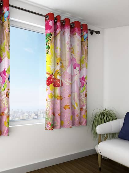 SWAYAM Kids Pink Yellow Single Printed Blackout Window Curtain