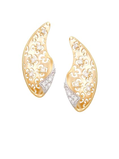 Mia By Tanishq 4 37 G 14 Karat Gold Precious Earrings With Diamonds