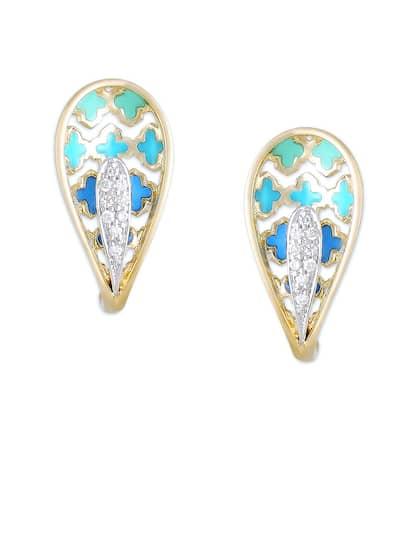 d58a24141 Diamond Earrings - Buy Diamond Earrings Online at Best Price | Myntra