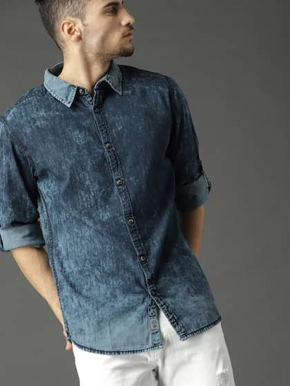 New Mens Denim Shirts Long Sleeve Western Stylish Black Dark Blue Light Blue