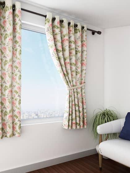 SWAYAM Off White Pink Single Printed Window Curtain