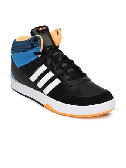 watch 57fe6 644c7 ... coupon code for adidas neo men black colourblocked mid top sneakers  62d2b d0e96