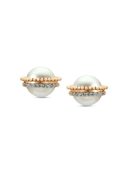 Mia by Tanishq 14KT Gold Diana Perla Stud Earrings with Diamonds