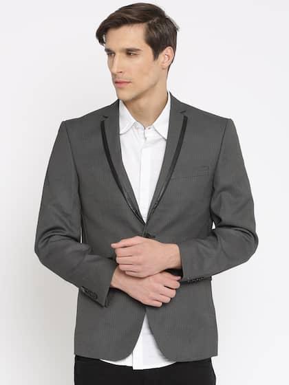 Jack & Jones Men Grey Single-Breasted Casual Blazer