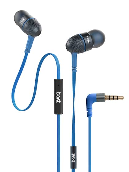 boAt BassHeads 220 Blue Tangle-free Wired Earphones with Enhanced Bass & Metal Finish