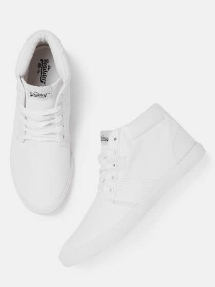 34edecc4b0d Roadster Men White Solid Leather Mid-Top Sneakers