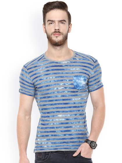 Mufti Men Blue & Grey Striped T-shirt
