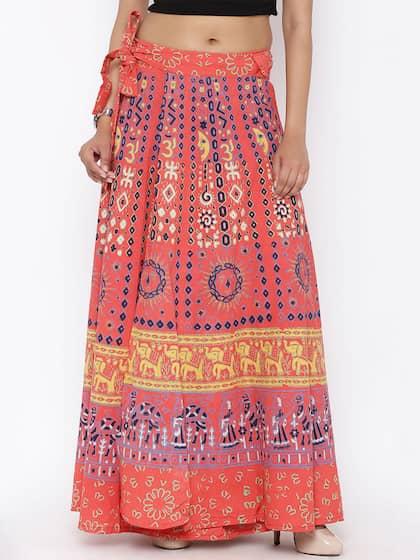 13198d3e498eb SOUNDARYA. Printed Wrap-Around Maxi Skirt. Sizes  Onesize