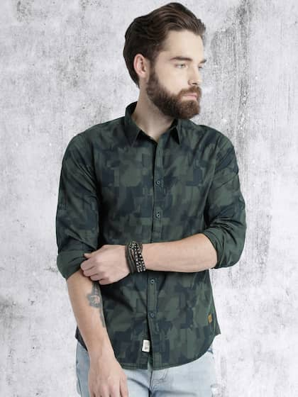 Roadster Men Navy & Green Printed Casual Shirt