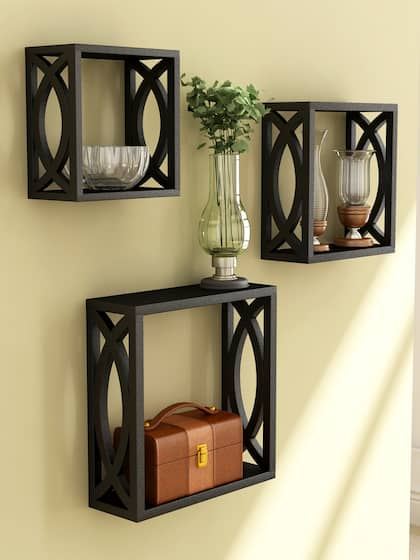 Home Sparkle Set Of 3 Black Cube Wall Shelves