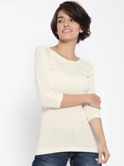 United Colors of Benetton Women Cream-Coloured Semi-Sheer Top