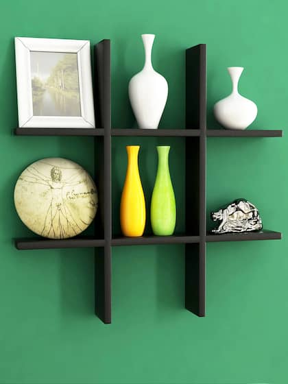 Home Sparkle Black Engineered Wood Wall Shelf
