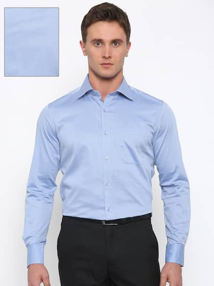 Raymond Men Blue Contemporary Regular Fit Solid Formal Shirt