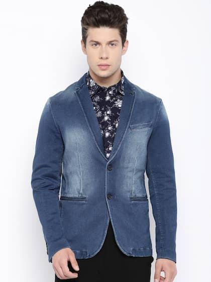 Jack & Jones Men Blue Washed Single-Breasted Denim Casual Blazer