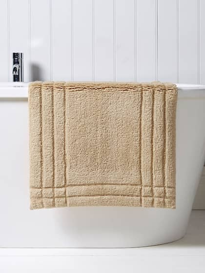 CHRISTY Beige Cotton Rectangular Bath Rug