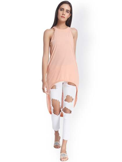 Vero Moda Women Coral Pink Solid High-Low Top