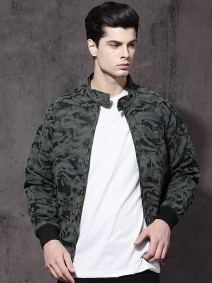 Roadster Men Grey Camouflage Printed Jacket