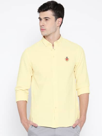 Red Tape Men Yellow Solid Casual Shirt