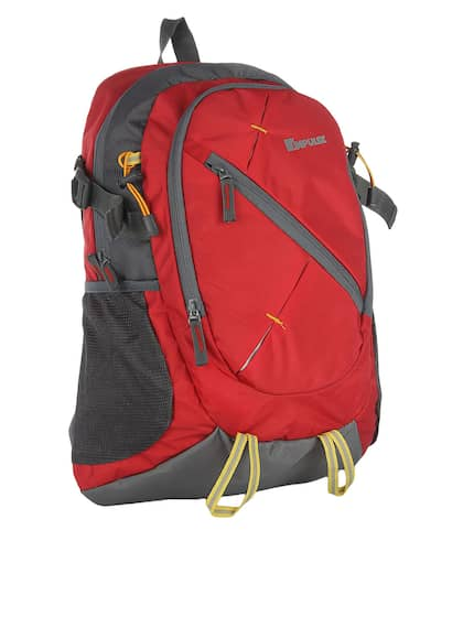 Impulse Unisex Red & Grey Colourblocked Laptop Backpack