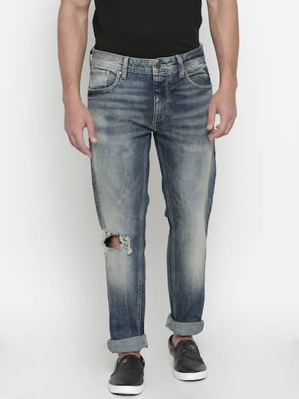 accd7720 Jack & Jones Men Blue Tim Slim Fit Low-Rise Slash Knee Stretchable Jeans