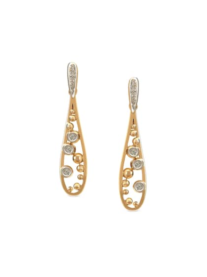 Mia By Tanishq 2 63 G 14 Karat Gold Precious Zorbing Earrings With Diamonds