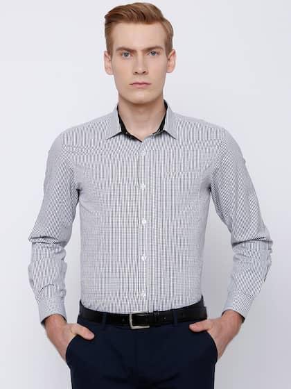 Mark Taylor Men White & Black Slim Fit Checked Formal Shirt
