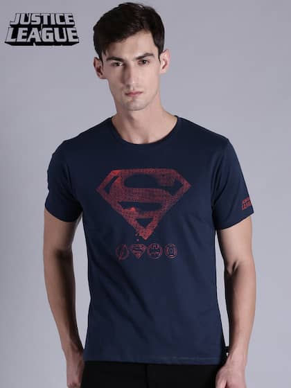 ed7d5db4a6a8 Justice League Men Navy Blue Printed Round Neck T-shirt
