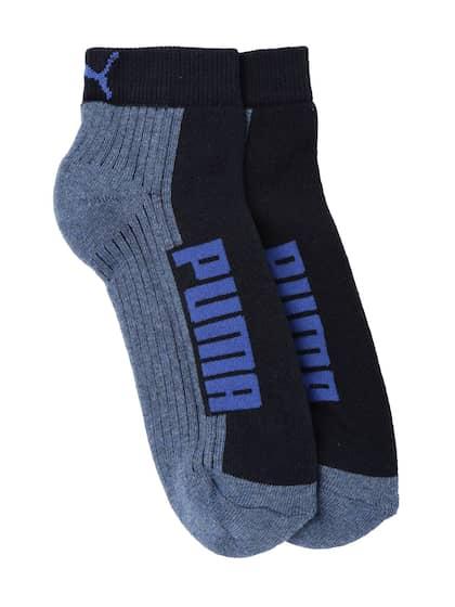 45bbb1a2b2abcb Puma Unisex Blue Set of 2 Cushioned Ankle-Length Socks