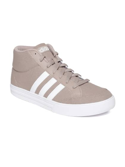 Adidas NEO Men Beige VS SET Solid Textile Mid-Top Sneakers