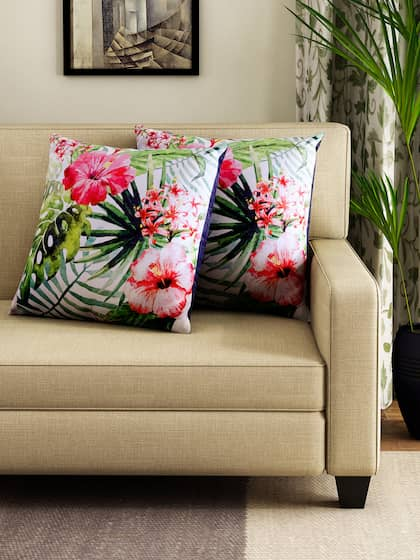HOUZZCODE Set of 2 Off-White & Green Tropical Print 16