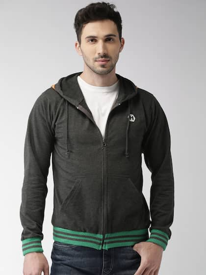 Harvard Men Charcoal Grey Solid Hooded Sweatshirt