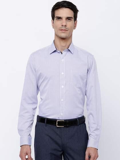 Mark Taylor Men White & Blue Slim Fit Checked Formal Shirt
