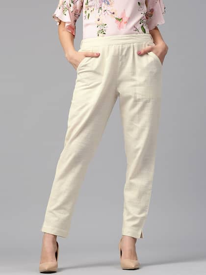 cheap aesthetic appearance official price White Trousers - Buy White Trousers Online in India
