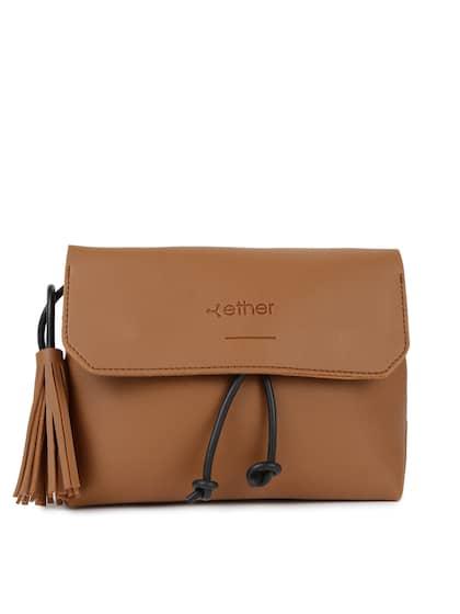 Ether Brown Solid Sling Bag