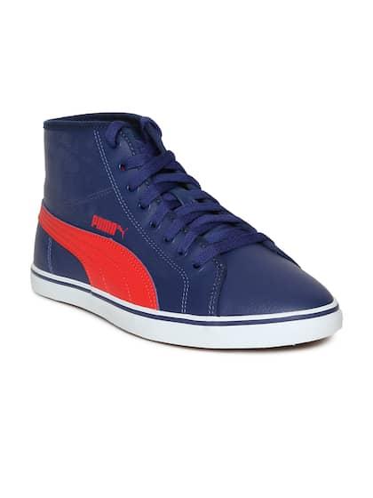 Puma Men Blue Solid Mid-Top Sneakers