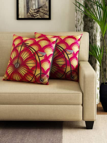 HOUZZCODE Set of 2 Red & Yellow Printed 16