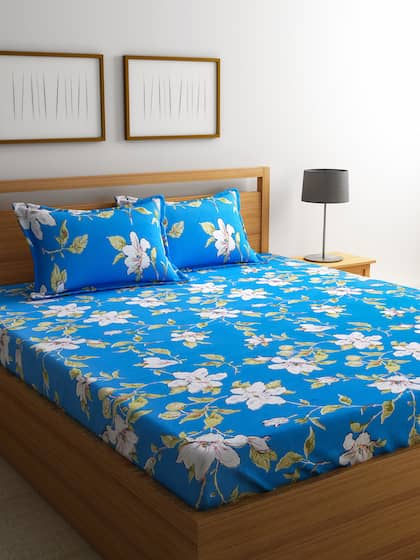 Cortina Blue 120 TC Polycotton Double Queen Bedsheet with 2 Pillow Covers
