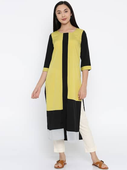 09766479e09 RANGMANCH BY PANTALOONS. Colourblocked Straight Kurta