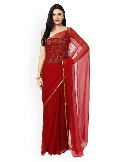 b49512b7bef2e Red Saree - Buy Red Color Fashion Sarees Online