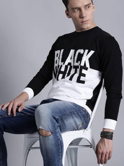 Kook N Keech Men Black White Printed Sweatshirt