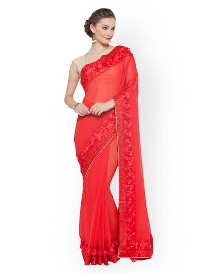 07fdffe0452 Red Saree - Buy Red Color Fashion Sarees Online