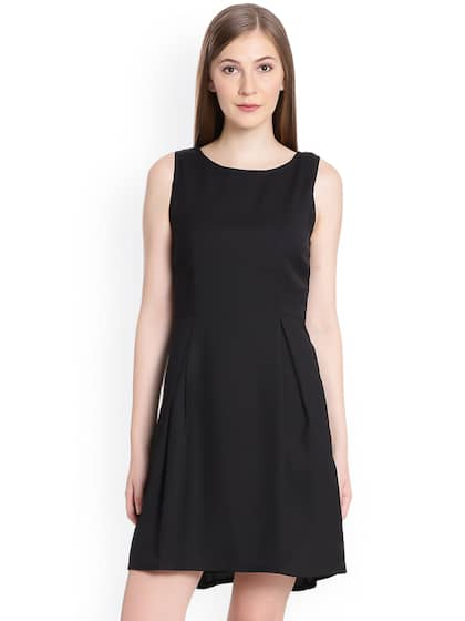 United Colors of Benetton Women Black Solid Fit and Flare Dress