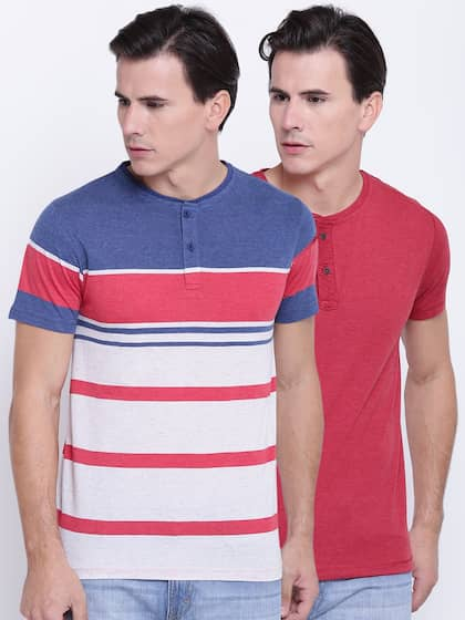 Foreign Culture Men Pack of 2 Henley Neck T-shirts