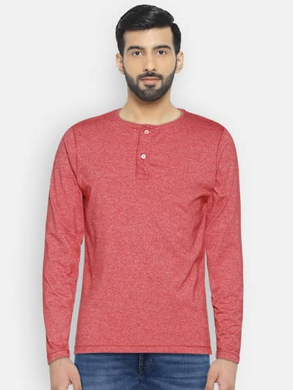 Foreign Culture Men Red Solid Henley Neck T-shirt