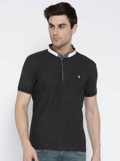 Foreign Culture Men Charcoal Grey Self-Design Mandarin Collar T-shirt