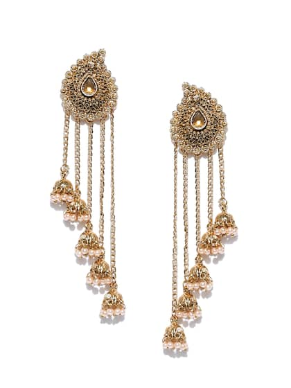 Zaveri Pearls Gold Plated Stone Studded Beaded Drop Earrings