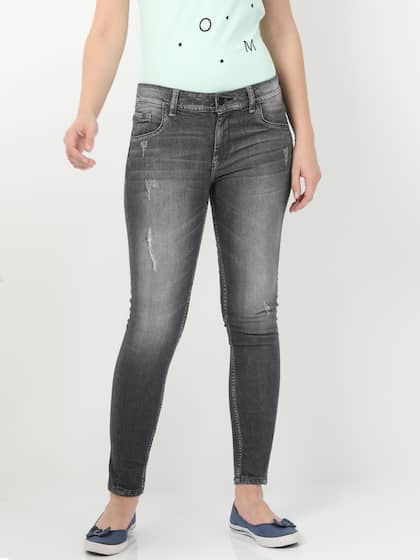 08589f47f8 Alibi Women Grey Skinny Fit Mid-Rise Mildly Distressed Stretchable Jeans